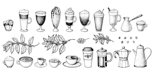 Coffee drink hand drawn collection. Sketch graphic elements for menu design. ...