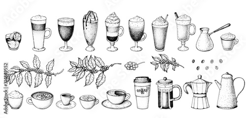 Photo Coffee drink hand drawn collection