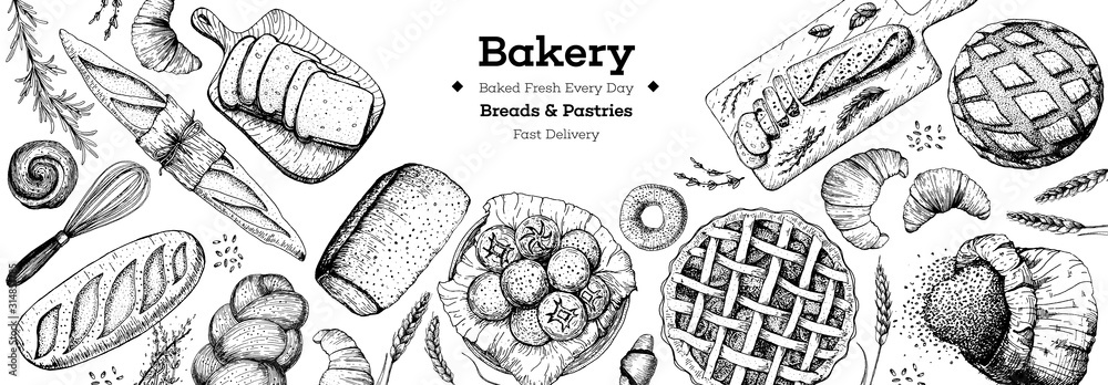 Fototapeta Bakery background. Bakery top view frame. Hand drawn sketch with bread, pastry, sweet. Bakery set vector illustration. Background design template . Engraved food image. Black and white package design.