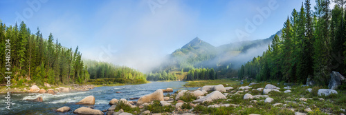 Plakaty do salonu  siberian-mountain-balyiktyig-hem-river-in-early-foggy-morning