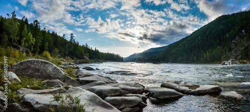 Fototapeta Small Yenisei river in summer day. obraz