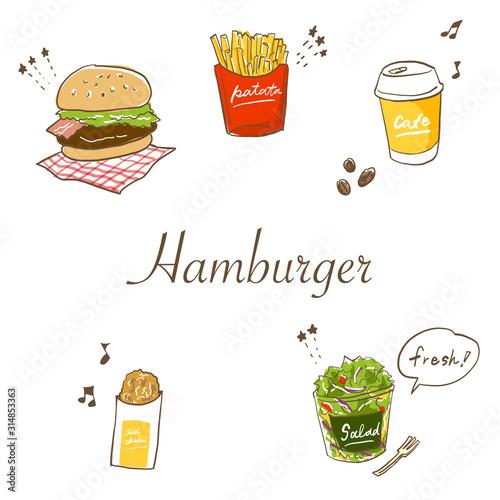 ペンイラスト風のハンバーガーセット