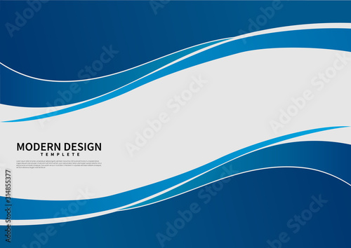 Fototapeta Abstract vector modern business background banner beautiful blue wave. obraz