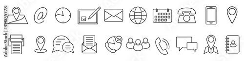 Photo Icons in thin line style. Vector linear icons.