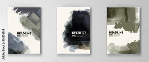 Fototapeta Elegant brochure template design set with ink brush elements. obraz