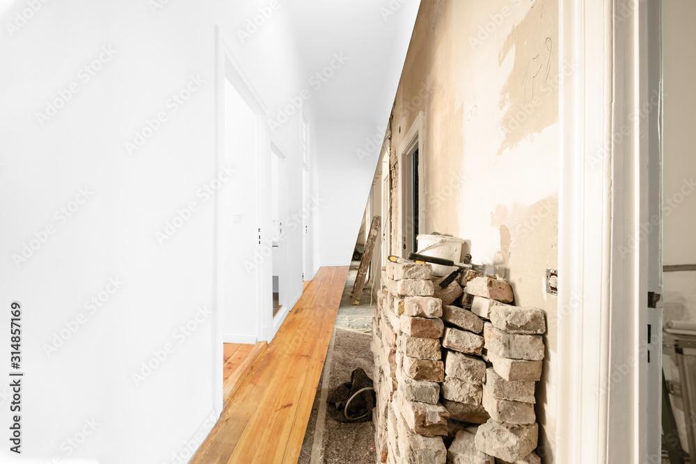 Fototapeta flat renovation, apartment room before and after modernization -