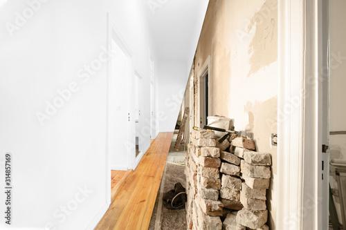 Obraz flat renovation, apartment room before and after modernization - - fototapety do salonu