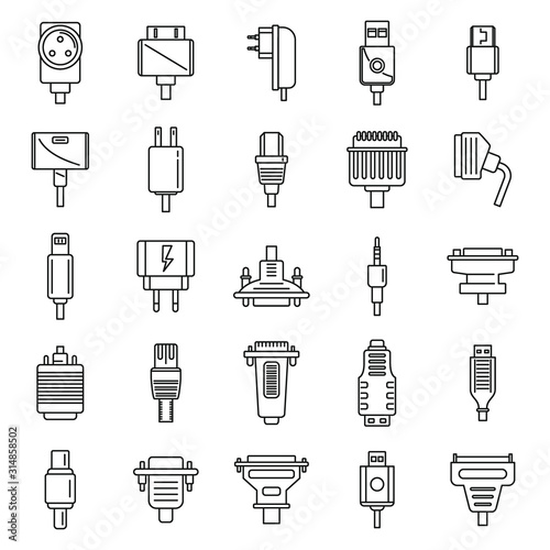 Adapter connector icons set Fototapet