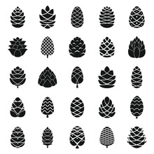 Pine Cone Icons Set. Simple Se...