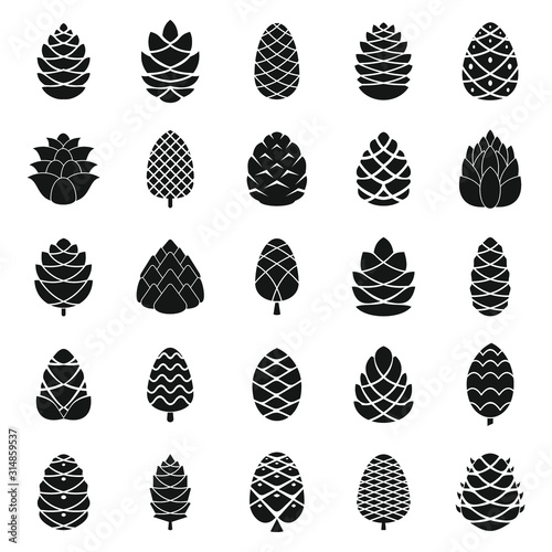 Obraz Pine cone icons set. Simple set of pine cone vector icons for web design on white background - fototapety do salonu