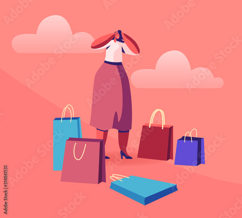 Fotografía Young Woman Shopaholic Stand Surrounded with Many Colorful Shopping Bags Holding Head Frustrated about Making Lot of Useless Purchases in Mall