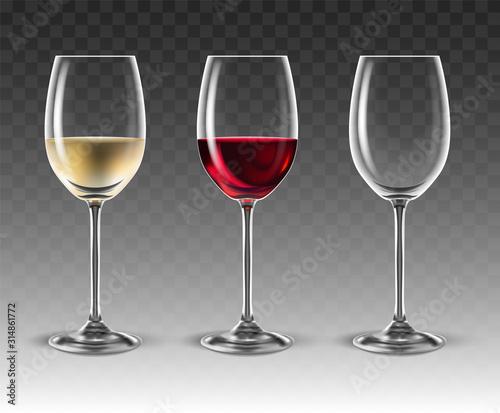 Fototapeta Two transparent glasses for wine,  3D vector. High detailed realistic illustration. obraz
