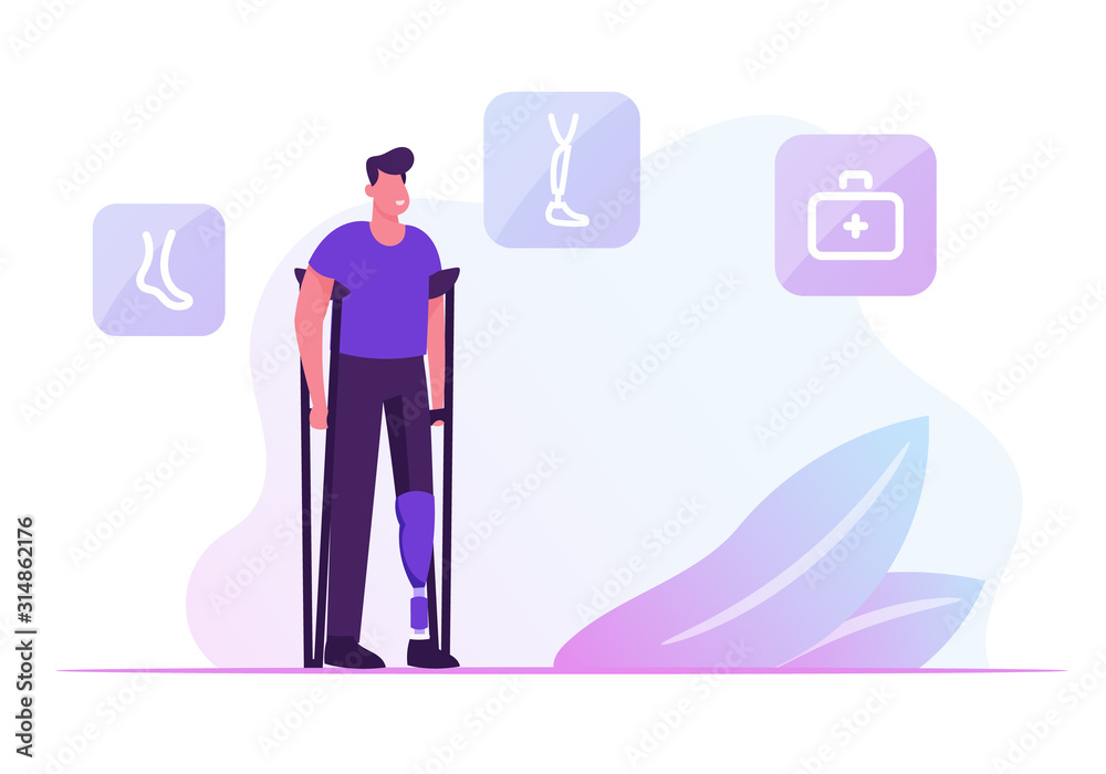 Fototapeta Invalid Handicapped Man Standing on Crutches with Prosthesis on Leg Visiting Orthopedy Clinic or Hospital. Healthcare Disability, Medicine, Therapy Doctor Appointment. Cartoon Flat Vector Illustration