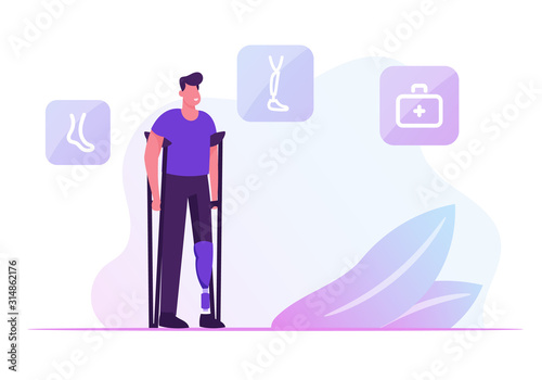 Fototapeta Invalid Handicapped Man Standing on Crutches with Prosthesis on Leg Visiting Orthopedy Clinic or Hospital. Healthcare Disability, Medicine, Therapy Doctor Appointment. Cartoon Flat Vector Illustration obraz