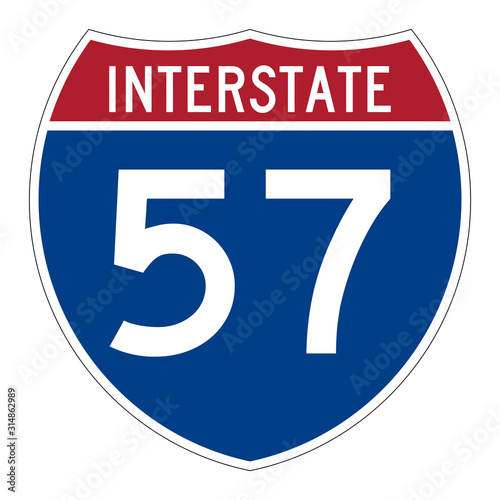 Photo  Interstate highway 57 road sign