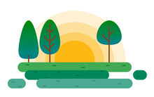 Forest Landscape With Trees And Rising Sun. Flat Game Woodland Design. Environmental Horizontal Vector Illustration. Countryside, Park, Meadow Horizon.