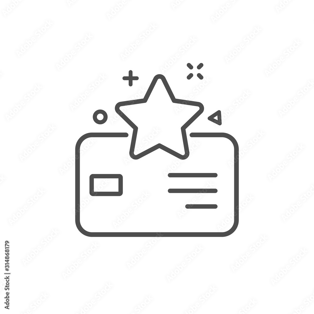 Fototapeta Loyalty card line icon. Bonus points. Discount program symbol. Quality business concept. Reward sign. Linear style loyalty card icon – stock vector