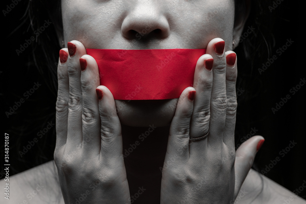 Fototapeta Concept on the topic of freedom of speech, censorship, freedom of press. International Human Right day