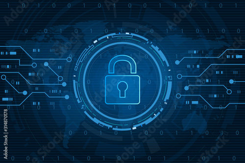 Fotomural Cyber security technology concept , Shield With Keyhole icon with world map background , personal data , vector illustration