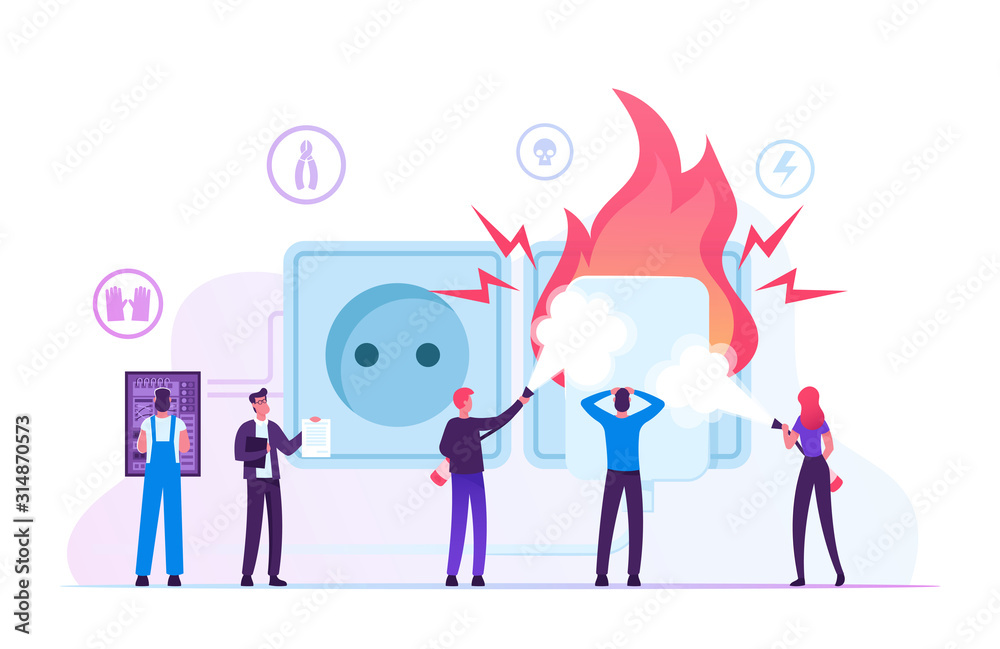 Fototapeta Electrical Safety. People with Extinguishers Put Out Electric Wiring of Socket on Fire. Plug Outlet Shock Power. Electrician Examine Working Draft or Measure Voltage Cartoon Flat Vector Illustration