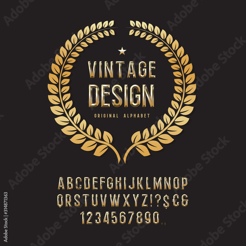 Gold alphabet font Canvas-taulu