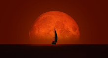 "Lone Yacht With Full Moon ""Ele..."