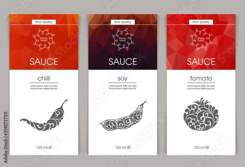 Fototapeta Vector set of templates packaging sauce obraz
