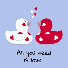 Valentines Day Greeting Card A Cute Couple Of Bath Rubber Ducks Facing Each Other With Floating Hearts Red And White Background