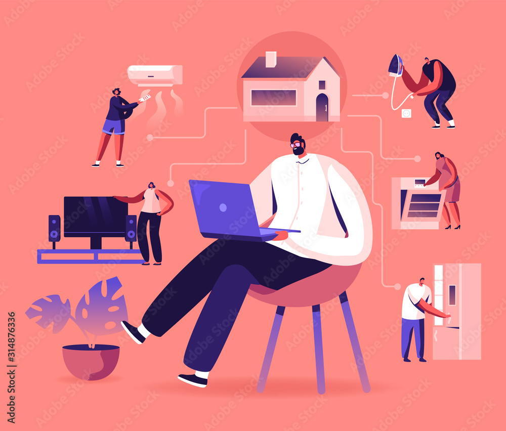 Fototapeta Internet of Things, Smart Home App Network Connection. Man Sitting on Chair with Laptop Control Household Devices Using Wireless Technologies Wifi and Iot Application. Cartoon Flat Vector Illustration