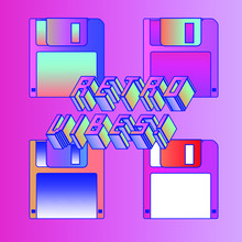"""Composition With Floppy Disc And 3d Title """"Retro Vibes"""". Retrofuturistic Illustration In Vaporwave And Retrowave 80's-90's Aesthetics Style."""