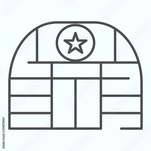 Military base thin line icon Tablou Canvas