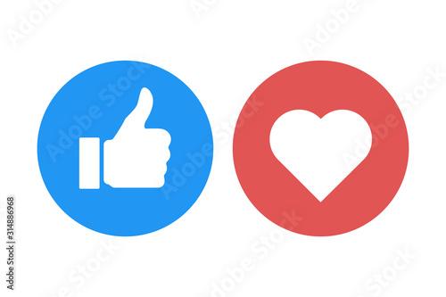 Cuadros en Lienzo thumb up heart like isolated icons vector