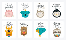 Valentine's Day. Vector Hand Drawing Poster Collection With Cute Animals And Slogans.
