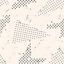 Abstract Black And White Grunge Seamless Pattern. Urban Art Texture With Chaotic Shapes, Dots, Triangles. Monochrome Graffiti Style Vector Background. Dirty Art. Repeat Design For Tileable Print