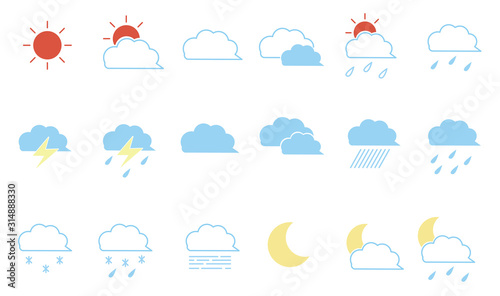 Fototapeta Set of hand drawn weather icons (colorful) obraz