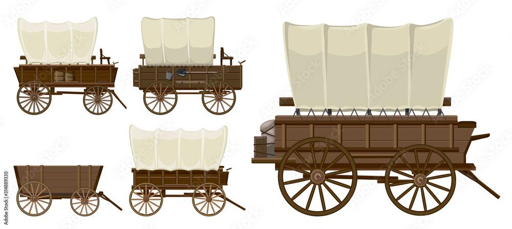 Fototapeta Wild west wagon isolated cartoon icon.Vector illustration set western of old carriage on white background .Vector cartoon set icon wild west wagon.
