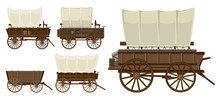 Wild West Wagon Isolated Carto...