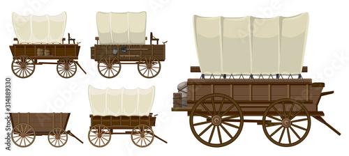 Fototapeta Wild west wagon isolated cartoon icon.Vector illustration set western of old carriage on white background .Vector cartoon set icon wild west wagon. obraz