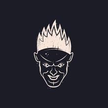 Evil Face Man With Flaming Hair. Horrible Smile. Devil Head. Vector Illustration. Black Background.