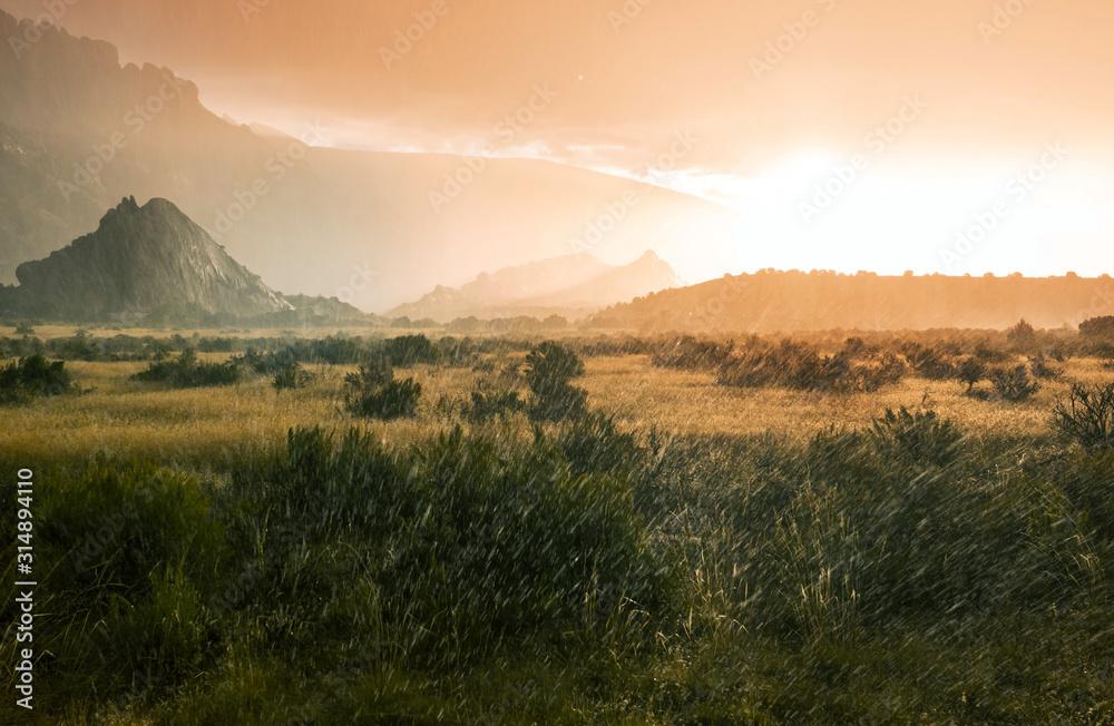 Fototapeta Rain in mountains