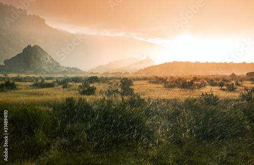 obraz lub plakat Rain in mountains