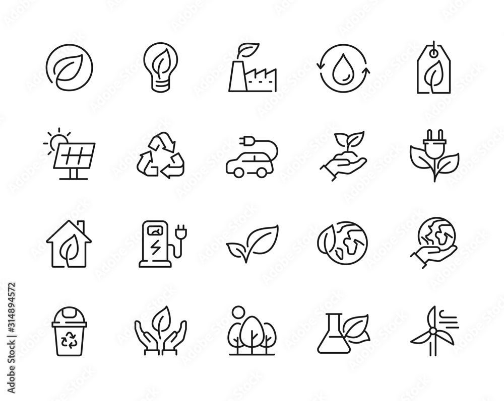 Fototapeta Eco friendly related thin line icon set in minimal style. Linear ecology icons. Environmental sustainability simple symbol. Editable stroke