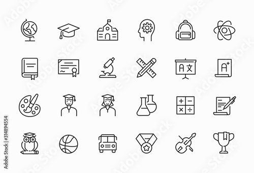 Zestaw ikon minimalne cienka linia związane z edukacją. Edytowalny symbol obrysu.