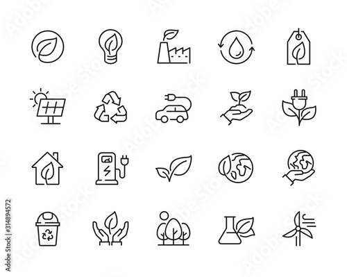 Fototapeta Eco friendly related thin line icon set in minimal style. Linear ecology icons. Environmental sustainability simple symbol. Editable stroke  obraz