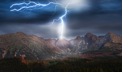 storm and lightning over the mountains