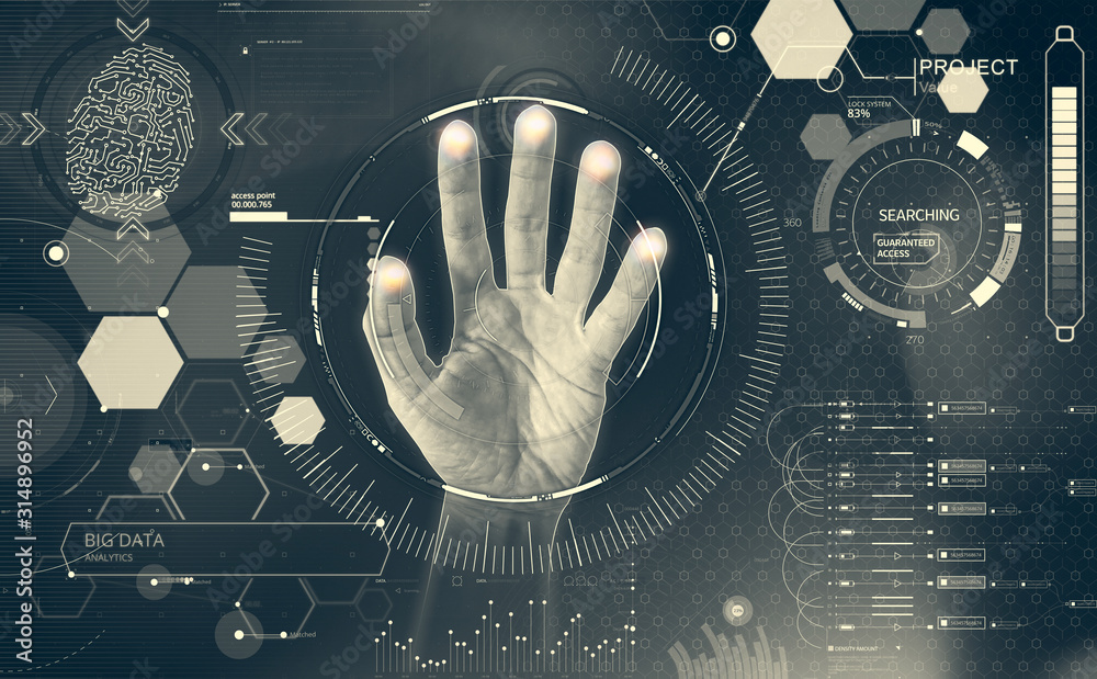 Fototapeta Example of HUD interface. Interaction with icons, hand on touch screen that selects graphic elements. Modern display of commands and controls via touch screens. Big data and future projects