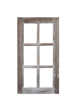 Real Vintage Wood Glass Door Window Frame Isolated On White Background