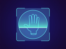 Palm Print Recognition. Biometric Scanning System For Human Palm, Hand ID Technology