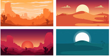 Set Of Poster Template With Wild Desert Landscape. Design Element For Banner, Flyer, Card. Vector Illustration