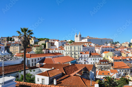 Stadtbild Lissabon, Aussicht auf die Altstadt Alfama, Portugal, Panorama Wallpaper Mural